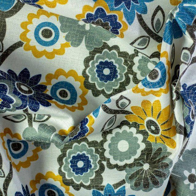 Tela Otoman Flores Azul Amarillo