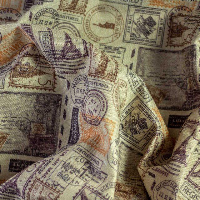 Tela Otoman Paris Postales y Sellos Fondo Beige