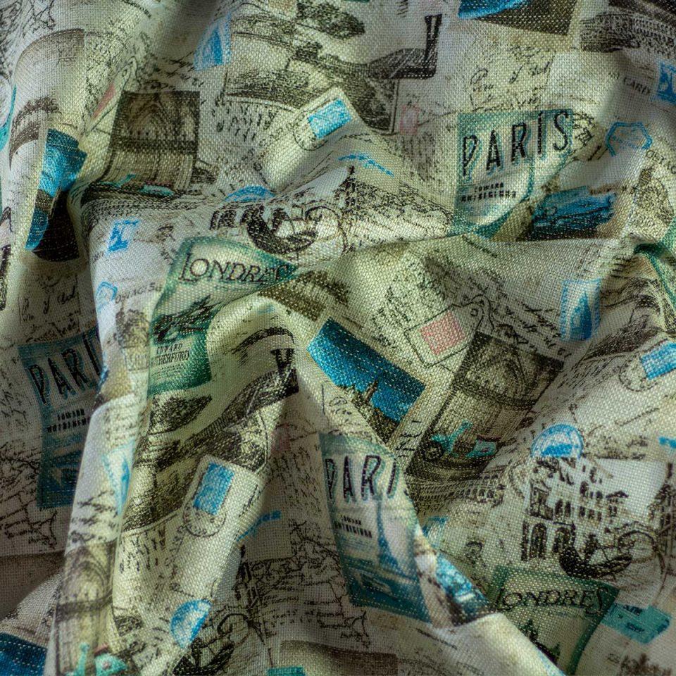 Tela Otoman Postales Paris Azules