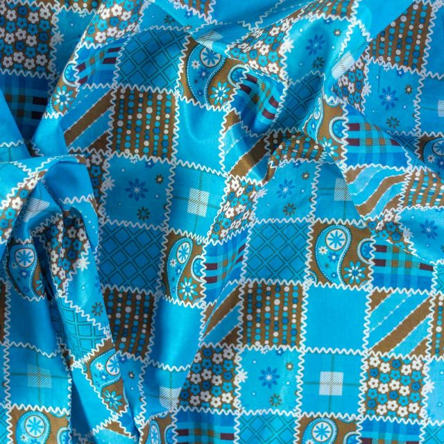 Tela Cotton Parches Azul