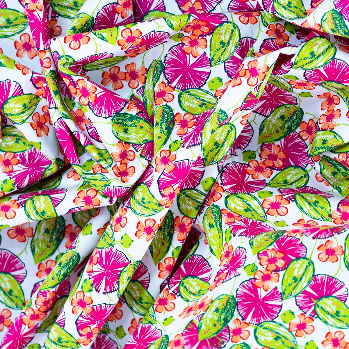 Tela Veneciano, tela algodón estampada Tropical
