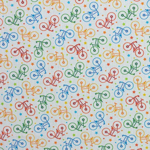 tela Kurosawa estampada bicicletas de colores