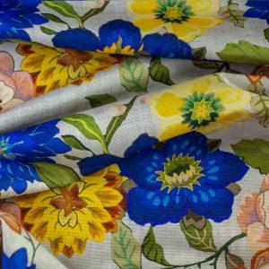 Tela Digital Estampado Flor Azul Rojo