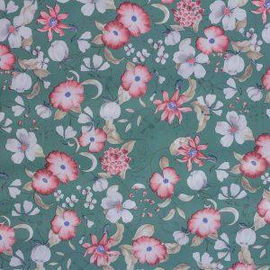 Tela Plastimesa Mantel PVC Estampado Flores Colores Verde