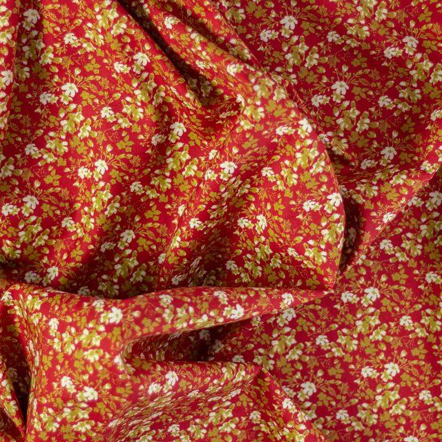 Tela Cotton Flores Amarillas Fondo Rojo
