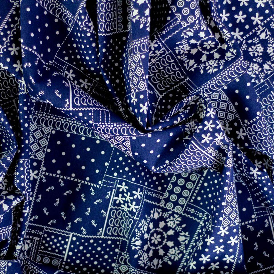Tela Cotton Mosaicos Azul Oscuro