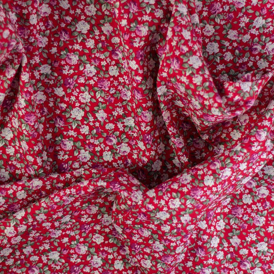 Tela Cotton Rosal Fondo Rojo
