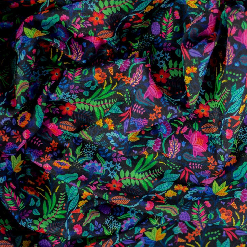 Tela Yucatán Flores Tropical Negro